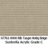 Sunbrella fabric 07761 rib taupe antique beige