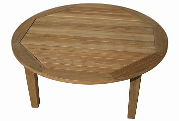 Teal round coffee table