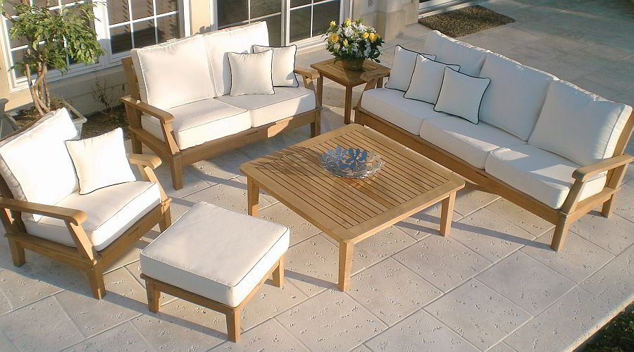 Teak deep seating collection of armchair, loveseat, sofa and coffee table