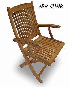 Folding teak armchair