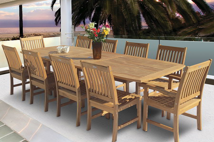 Teak extension dining table and chairs
