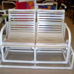 PVC strap loveseat double glider