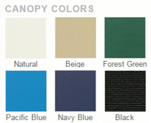 Olefin canopy fabric colors