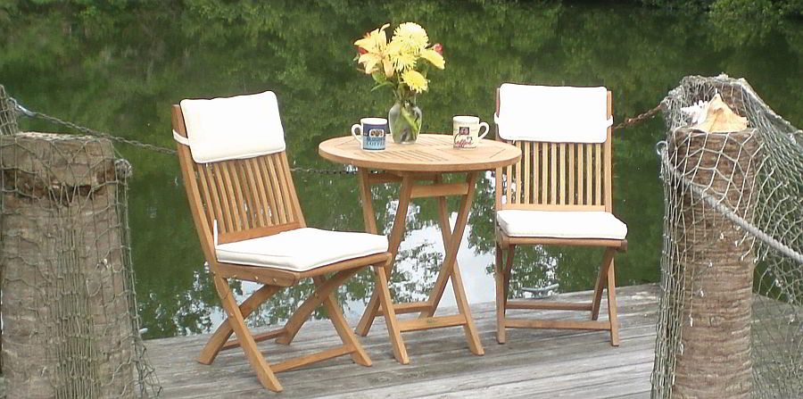 Folding teak table and chairs
