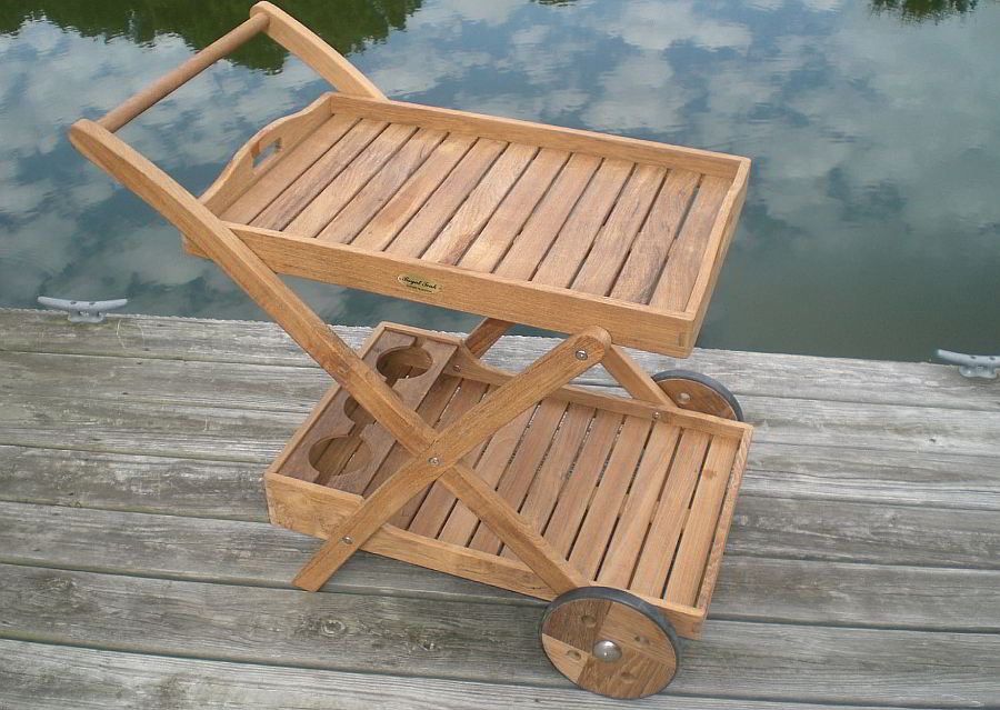 Teak serving cart with removable trays
