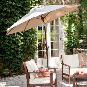 Patio umbrella matches outdoor furniture cushions