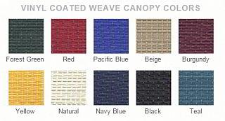 Vinyl canopy colors
